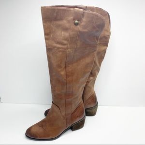 Brown leather riding boots Vince Camuto